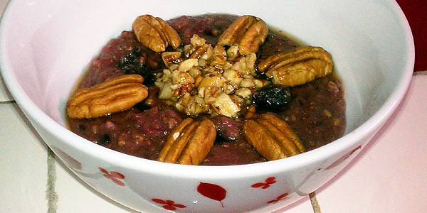 Slow Cooker Purple Sweet Potato Pecan Pie Oatmeal