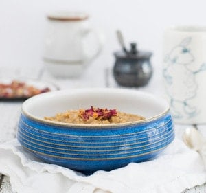 Vegan Earl Grey Oatmeal w/ Rosewater from Your Slow Cooker or Instant Pot