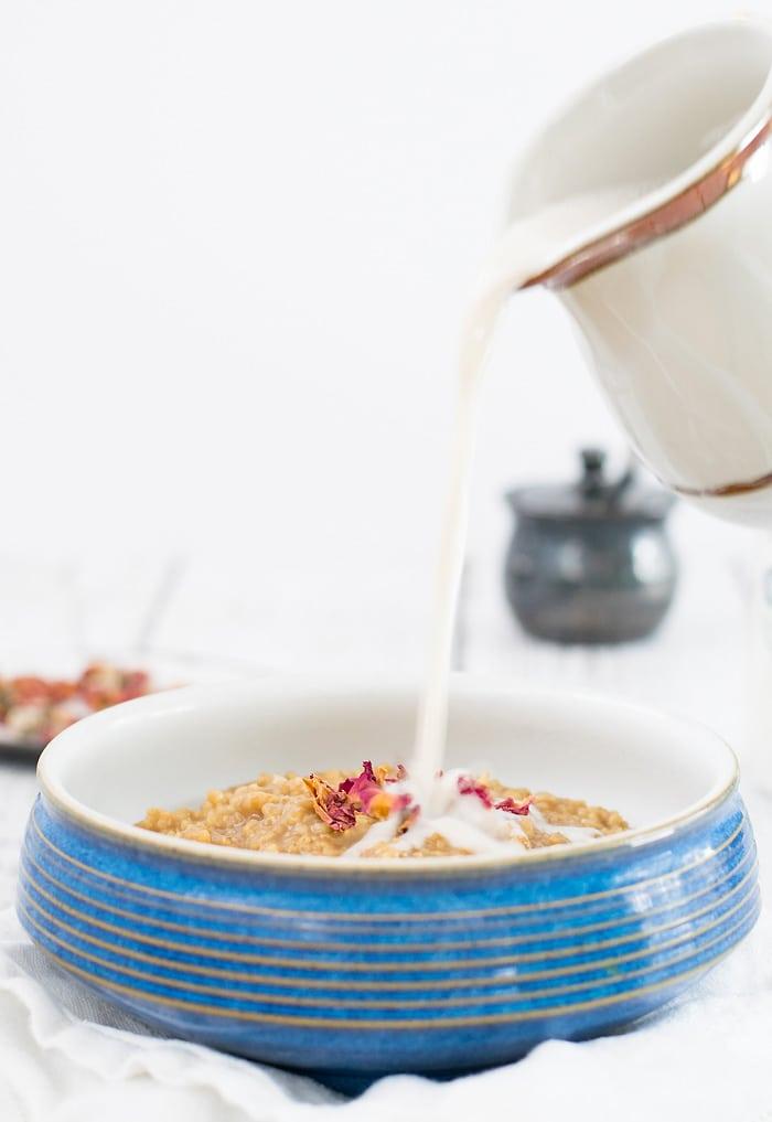 Vegan Earl Grey Oatmeal w/ Rosewater