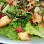 Romaine Strawberry Salad with Roasted Asparagus and a Surprising Crouton