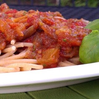 Slow Cooker Summer Pasta Sauce with Fresh Basil