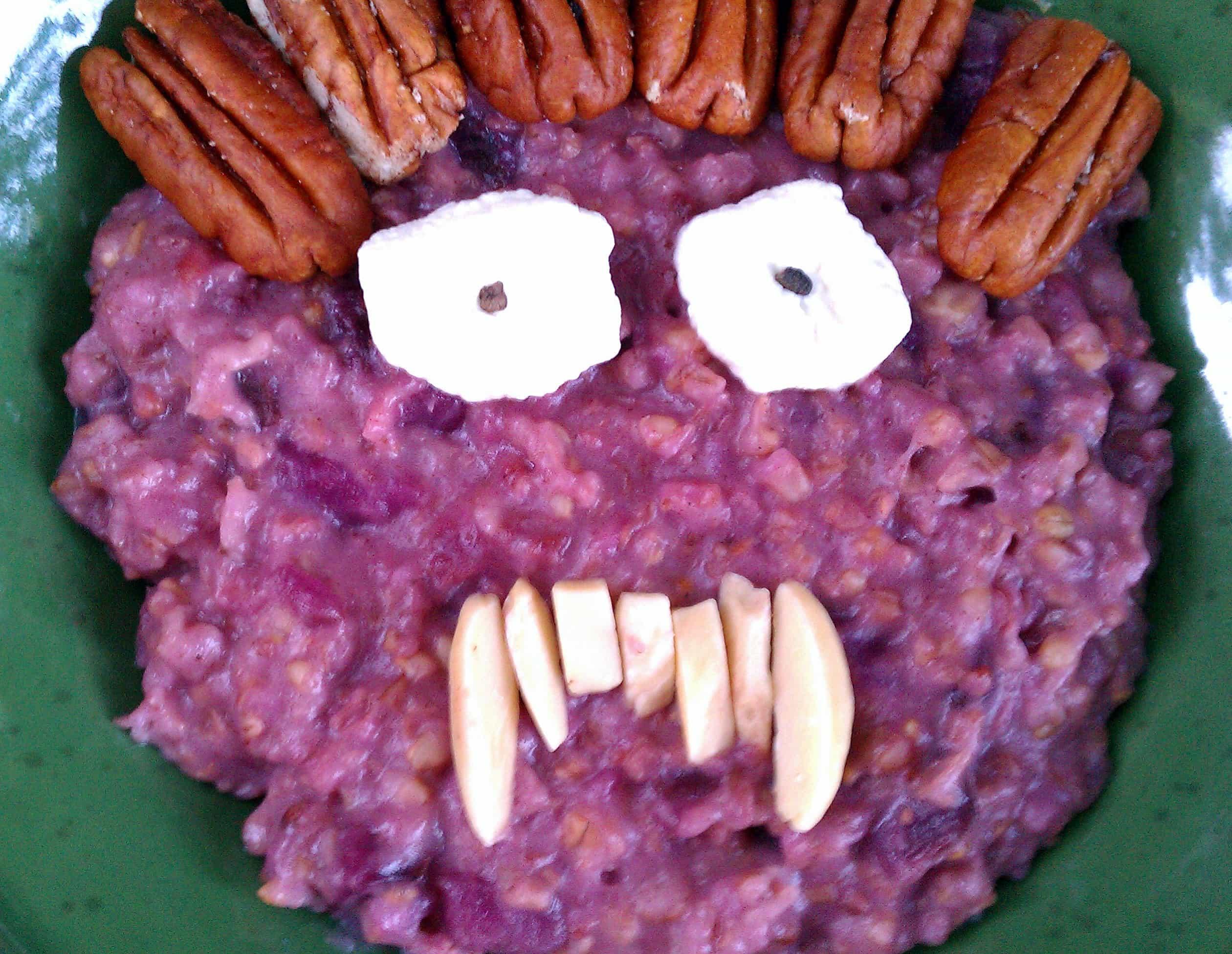 A Monster Ate My Purple Sweet Potato Casserole Oatmeal!