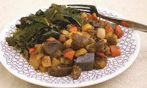 Roasted Root Veggie Hash with Gardein Beefless Tips