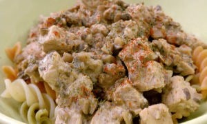 Super Simple Slow Cooker Tempeh Mushroom Stroganoff