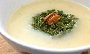 Potato Turnip Soup with Spring Greens Pesto