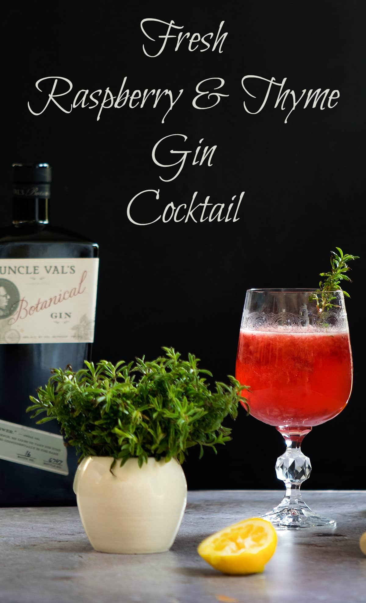 Fresh Raspberry and Thyme Gin Cocktail
