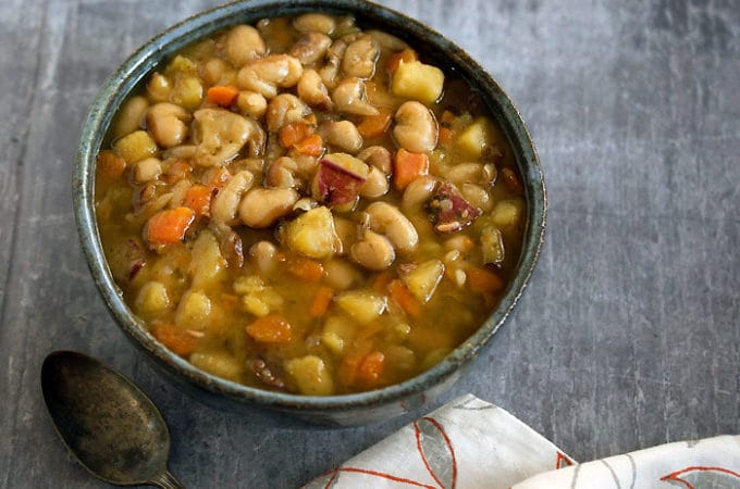 Slow Cooker Yellow-Eyed Bean Soup For 2 with Veggie Variations