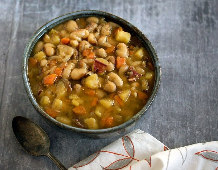 Vegan Slow Cooker Yellow Eyed Bean Soup For 2