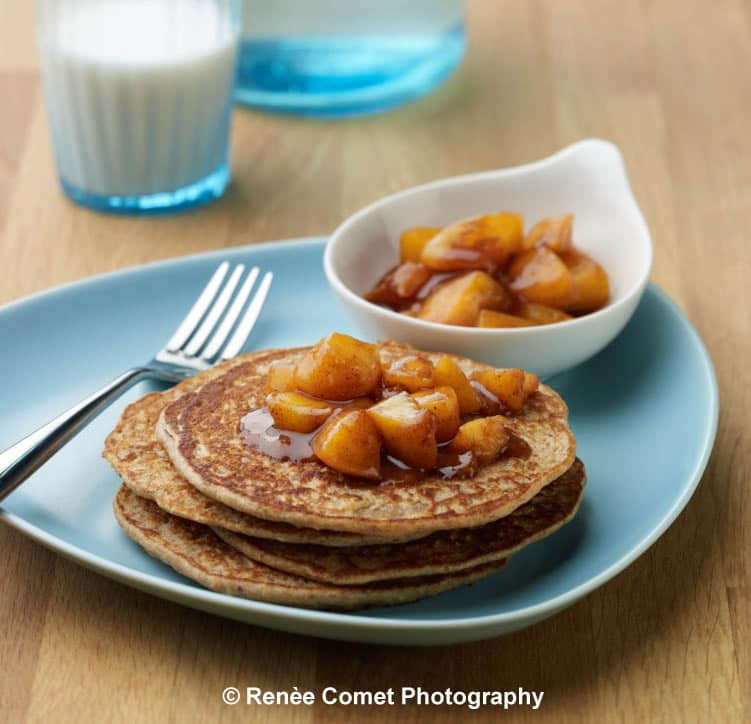 Enchanted Vanilla Pancakes with Chai-spiced Peach Compote