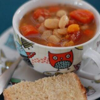 Super Easy White Bean Veggie Soup (Slow Cooker)