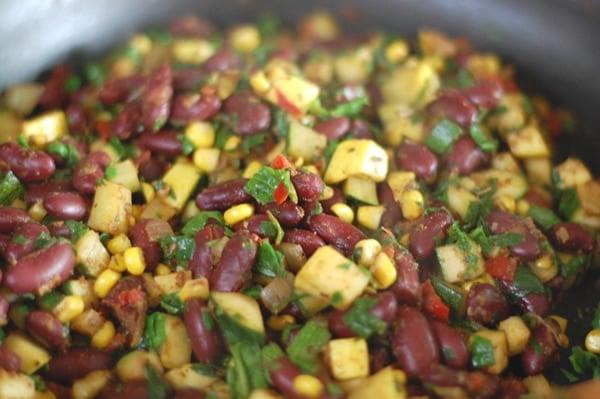 Kidney Bean and Summer Squash Mexi Stir-fry