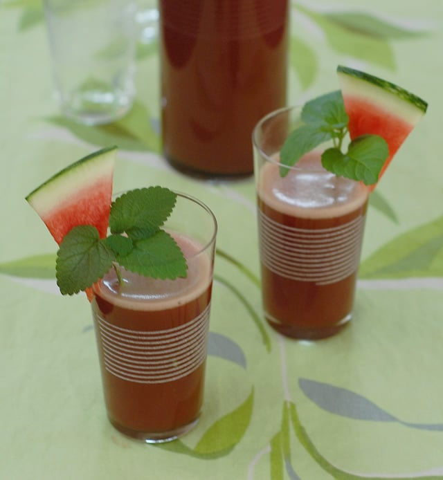 Watermelon Lemon-Balm Mint Cooler for National Drink Watermelon Day