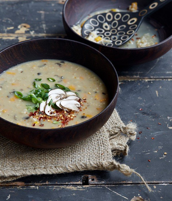 Mushroom Ginger Congee  From OATrageous Oatmeals by Kathy Hester