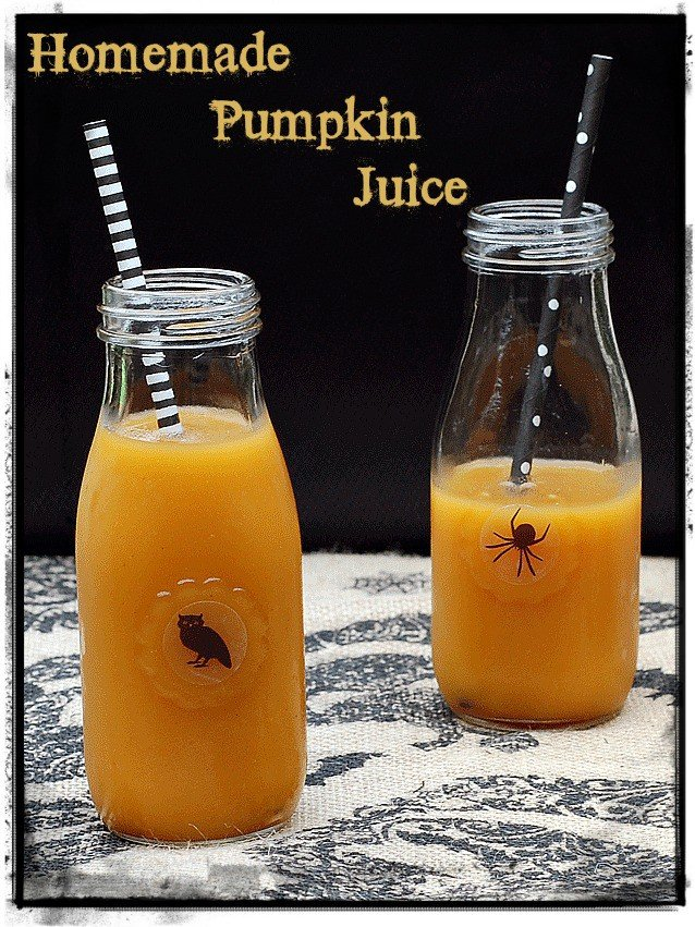 Homemade pumpkin juice with no added sugar from Kathy Hester #vegan #halloweenrecipe #halloween