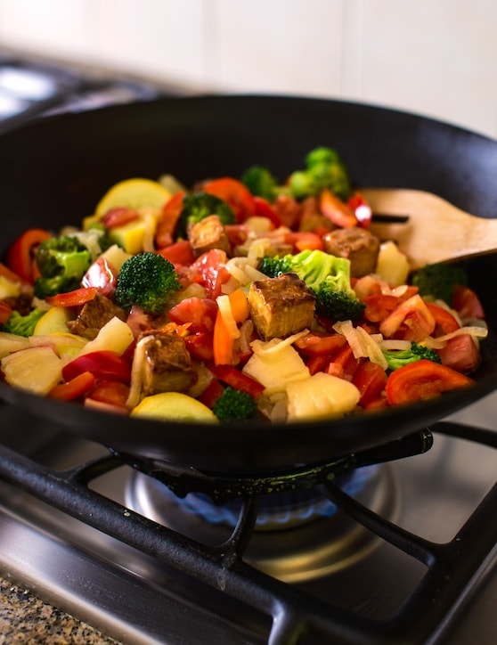 Sweet-and-Sour Stir-Fried Vegetables with Seitan or Tempeh