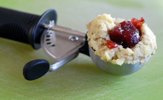 Thanksgiving Potato Stuffing Balls with a Cranberry Sauce Center | HealthySlowCooking.com