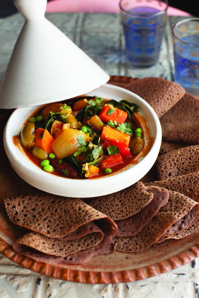 Vegetable Tangine and Injera from Vegan Without Borders