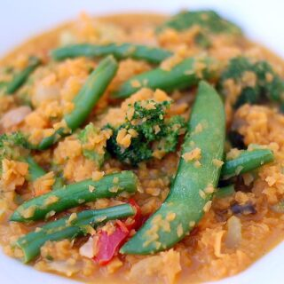 "Thai Red Curry Vegetables with Sweet Potato ""Rice"""