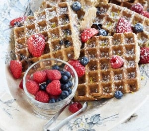 Make these Gluten-Free Lemon Blueberry Belgian Waffles this Weekend! They're Vegan and Oil-Free Too.