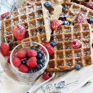 Gluten-Free Lemon Blueberry Belgian Waffles