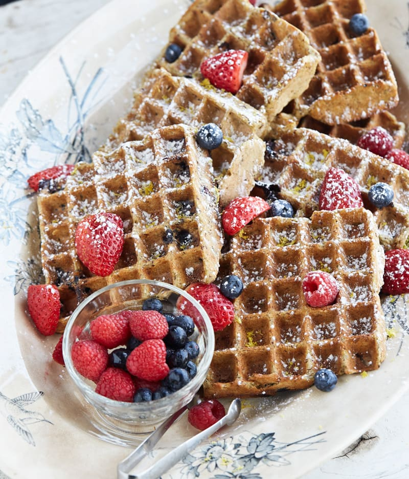 Gluten-Free Lemon Blueberry Belgian Waffles that are vegan, soy-free and oil-free! | HealthySlowCooking.com