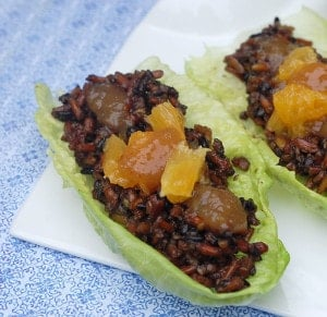 Black Rice Lettuce Wraps with Citrus Fig Sauce | HealthySlowCooking.com