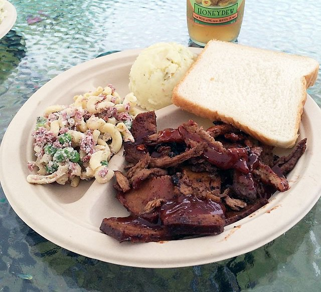 Vegan BBQ plate from BBQ Revolution in Austin