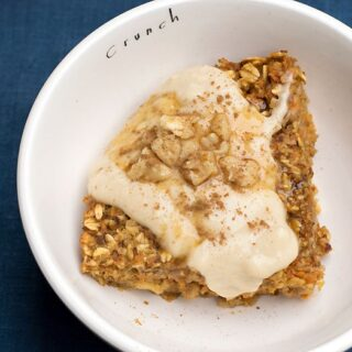 "Vegan Baked Orange Carrot Cake Oatmeal topped with Nancy's Cultured Soy Vanilla ""Icing"""