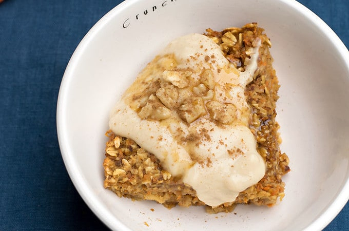 """Vegan Baked Orange Carrot Cake Oatmeal topped with Nancy's Cultured Soy Vanilla """"Icing"""""""