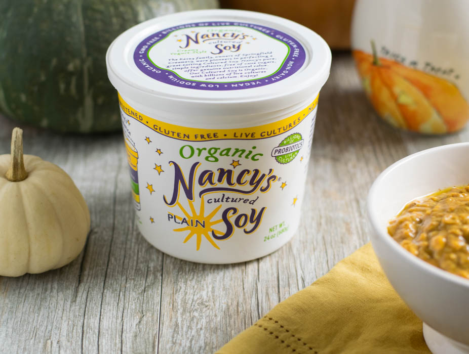 Overnight Pumpkin Ginger Oats with Nancy's Organic Cultured Soy