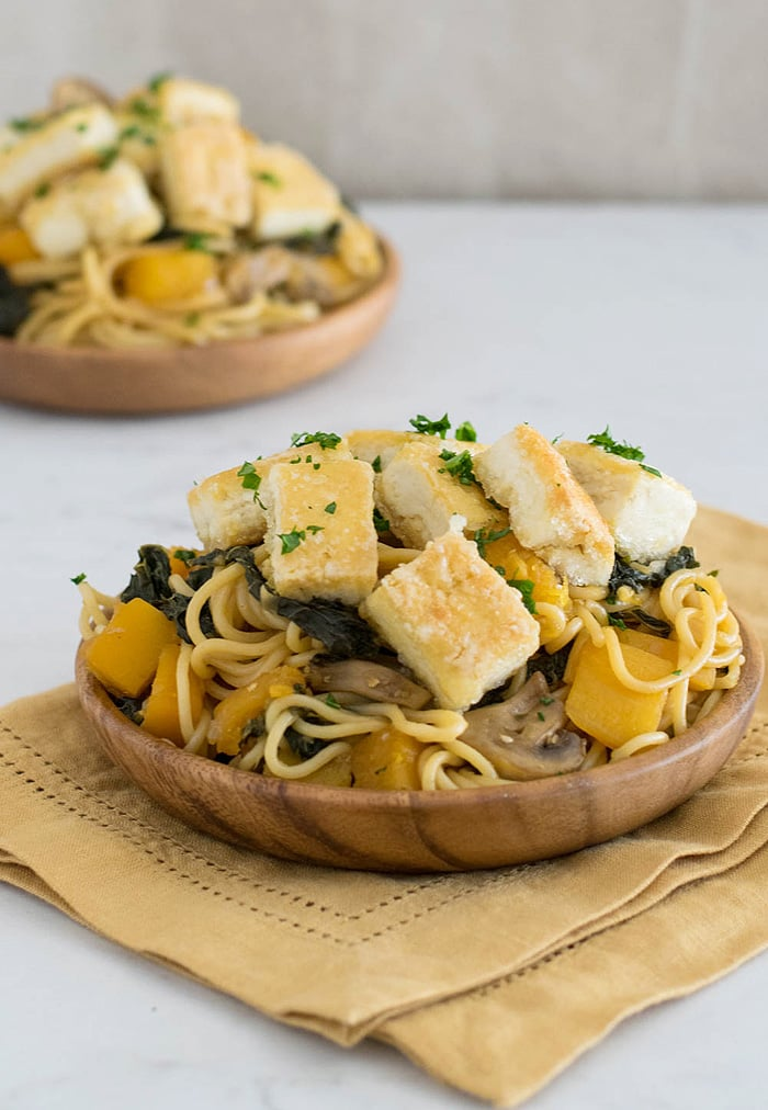 Butternut Squash And Kale Lo Mein With Crispy Tofu for #HealthyPastaMonth