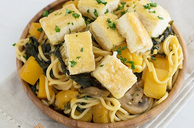 Butternut Squash And Kale Lo Mein With Crispy Tofu