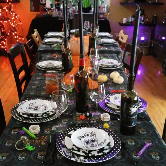 Working on the Halloween tablescape by Stephanie Manley