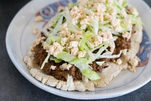 Slow Cooker Mole Mushroom Vegan Tacos or Huaraches
