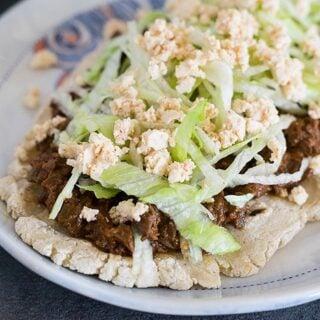 Slow Cooker Mole Mushroom Vegan Tacos or Huaraches