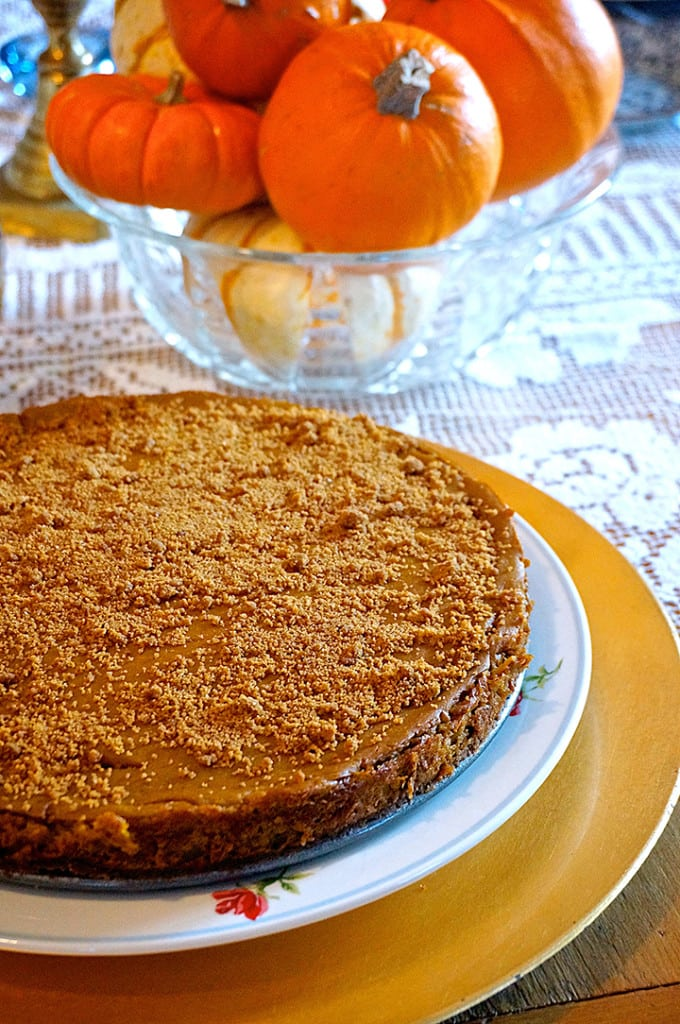 Vegan Pumpkin Spice Cheesecake from from Laura Theodore's Vegan-ease