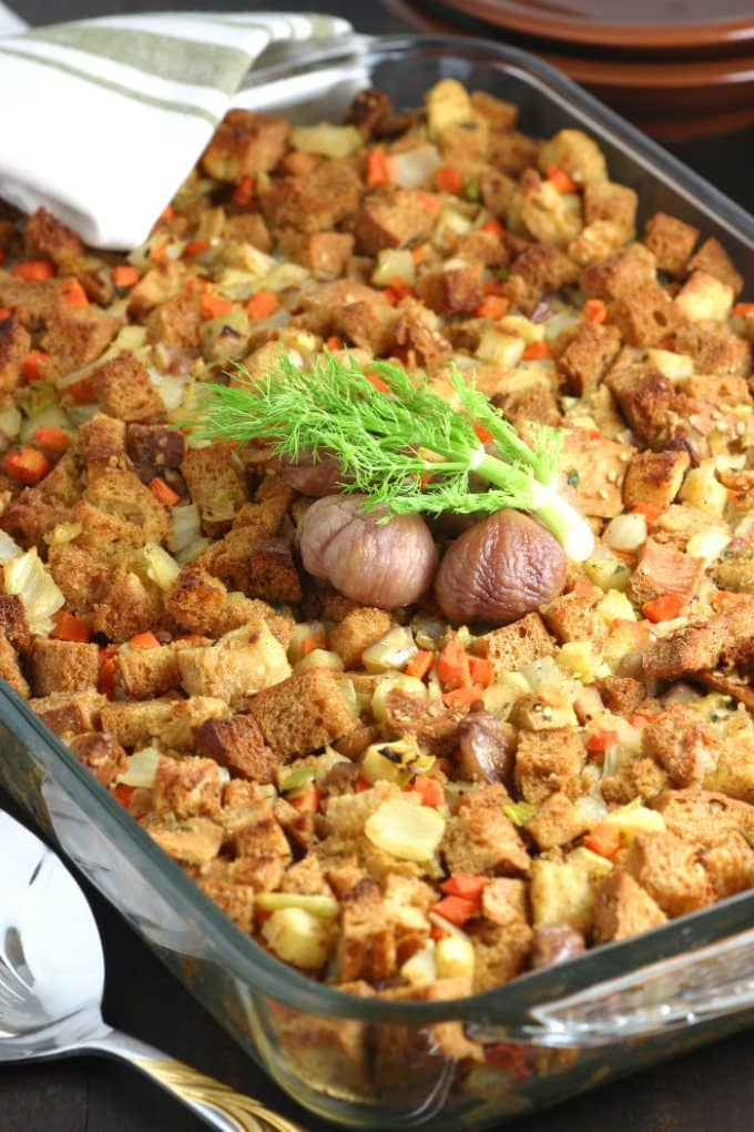 Fennel, Apple, and Chestnut Stuffing from Lands and Flavors