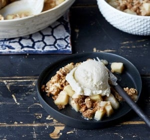 Vegan Holiday Gingerbread Pear Crumble From OATrageous Oatmeals