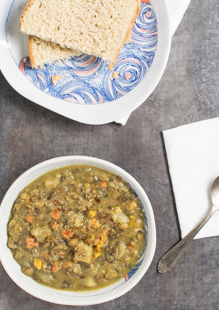 Vegan Instant Pot Lentil Vegetable Soup with Slow Cooker Variation