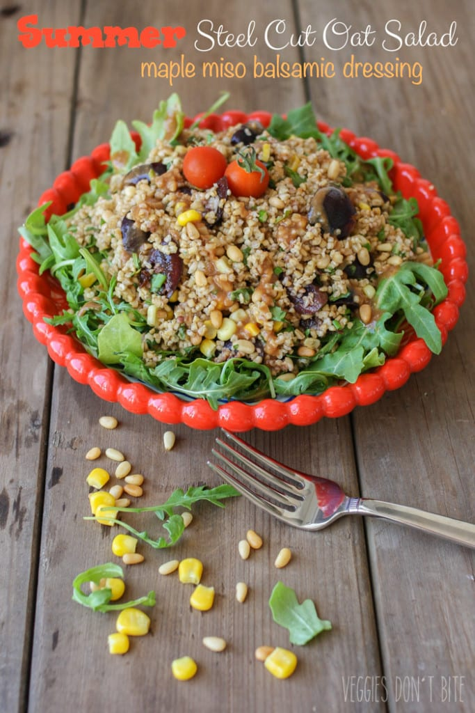 Steel Cut Oat Salad with Maple Miso Balsamic Dressing