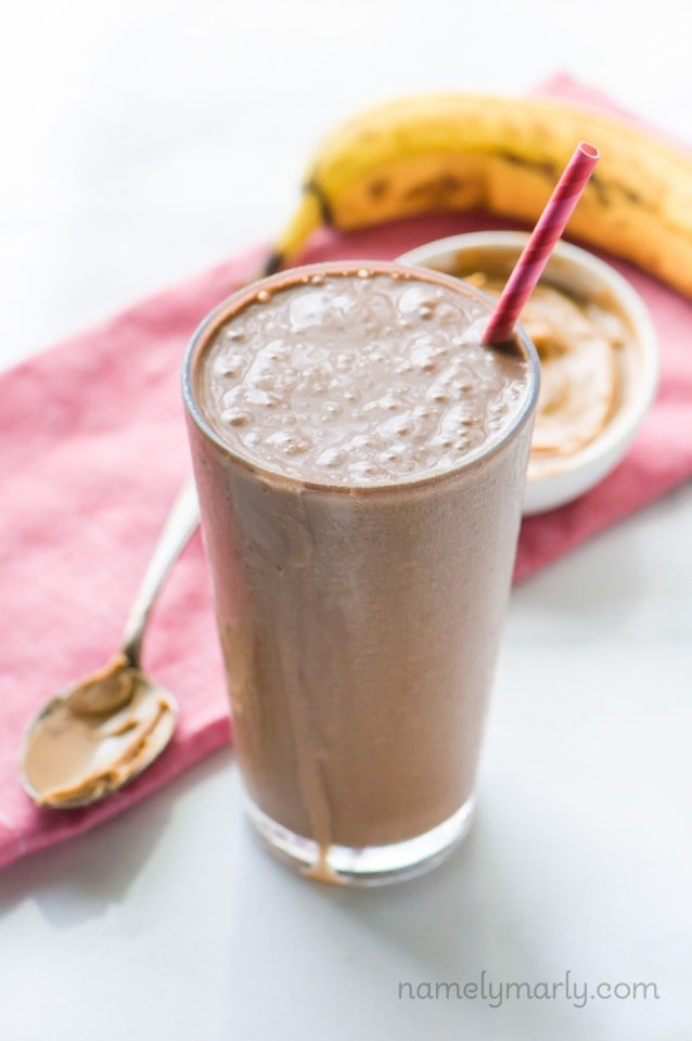 Chocolate Peanut Butter Protein Smoothie from namelymarly.com