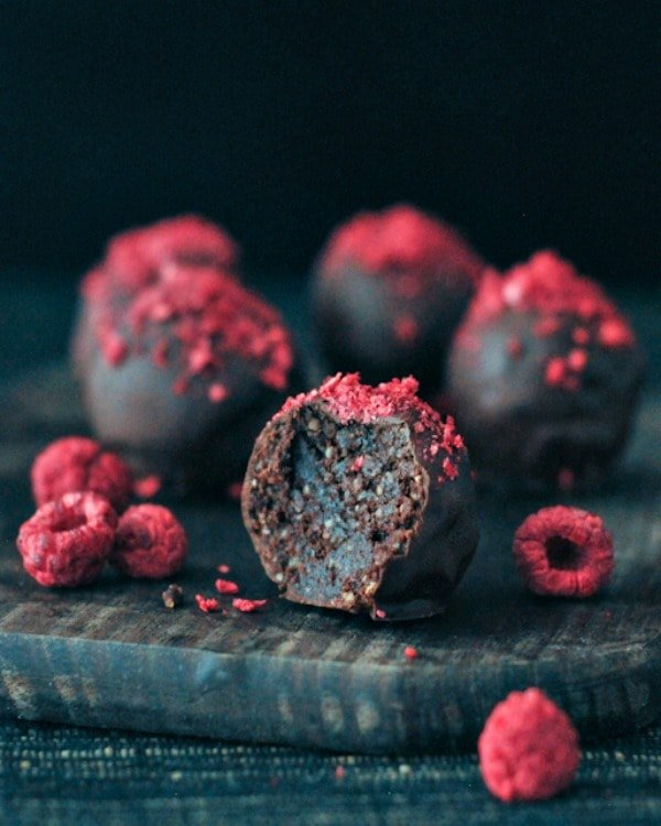 Raspberry Dusted Chocolate Fudge Brownie Truffles
