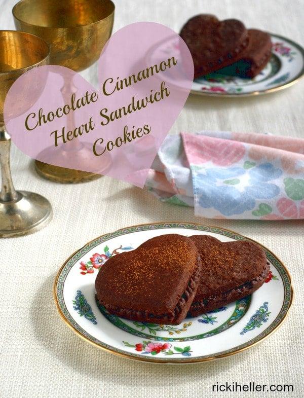 Chocolate Cinnamon Heart Sandwich Cookies