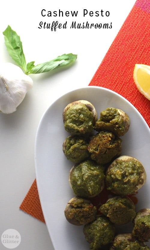 Cashew Pesto Stuffed Mushrooms