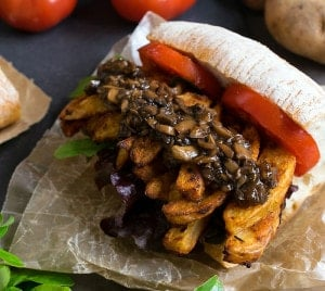 Cajun French Fry Po' Boy with Vegan Mushroom Gravy (Air Fryer and Oven Directions)