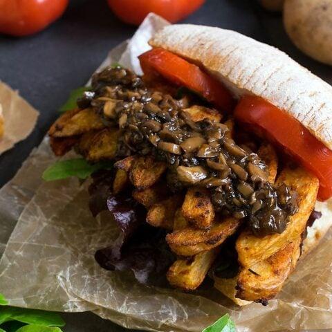 Cajun French Fry Po' Boy with Vegan Mushroom Gravy