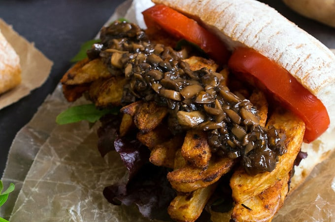 Cajun French Fry Po' Boy with Vegan Mushroom Gravy