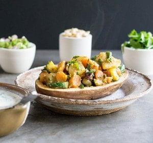 Instant Pot Vegan Curried Spring Vegetable Potato Chaat