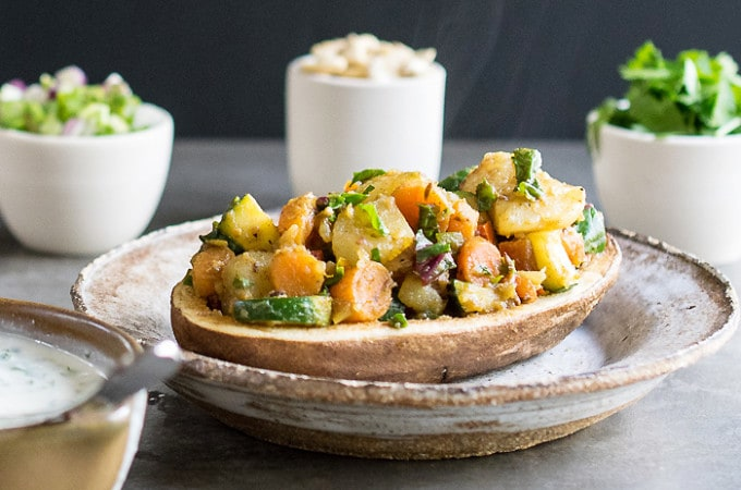 Instant Pot Vegan Curried Spring Vegetable Potato Chaat