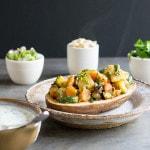 Vegan Curried Spring Vegetable Potato Chaat